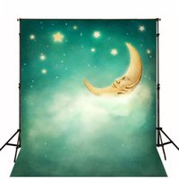 Wholesale Photography Back Drops - Glitter Stars Background for Photo Studio Baby Moon Soft Clouds Kids Cartoon Back Drops Child Birthday Photography Backdrop