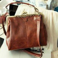 Wholesale Europe Style Handbag - Wholesale-1pc lot 2016 Newest Women's Europe Style PU Leather Vintage Bag Retro Design Handbag Crossbody Shoulder Bags Dark Brown 640215