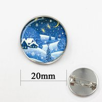 Wholesale Vintage Glass cabochon dome jewelry Christmas Landscape jewelry Christmas gift New Year gift for friends brooches