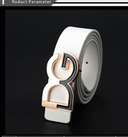 Wholesale Thin White Leather Belt - Factory direct wholesale D han edition men's fashionable ladies' belt thin belt young students smooth buckle belts G word