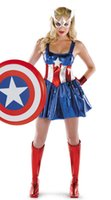 Wholesale Sexy Female Masks - 2017 New Fancy Marvel Avengers Superhero Captain America Woman Costume Sexy Cosplay Halloween Female Adult Costume & Mask