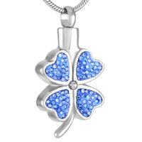 Wholesale Clover Leaf Necklace Jewelry - IJD8220 Luxury Crystal Four Leaf Clover Cremation Urn Necklace Women Charm,Elegant Design Stainless Steel Cremation Jewelry Pendant Hot Sale