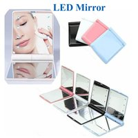 Wholesale Led Mirror Covers - makeup Mirror LED Light Mirror Desktop Portable Compact 8 LED lights Lighted Travel Make up Mirror Flip Cover Mirror OTH312