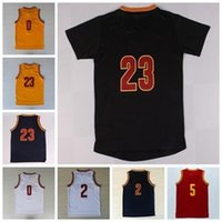Wholesale White Navy Uniforms - Best Quality 23 LeBron James Jersey 0 Kevin Love 2 Kyrie Irving Shirt Uniforms 5 Jr Smith with sleeve Black Navy Blue White Red Yellow