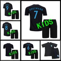 Wholesale Copy Rugby FRANCE kids jersey GRIEZMANN thai quality black POGBA PAYET DEMBELE KANTE kids shirt jerseys