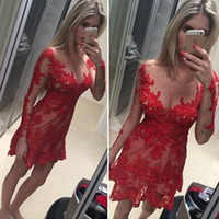 Sexy Cocktailkleider Red Lace Boat Neck Langarm Wulst Kurzes Robe de Cocktail