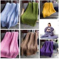Wholesale Winter Weave Styles - Knitted Blanket Handmade Weaving Photography Props Crochet Linen Woolen Blankets Christmas Gifts 3 Sizes 20 Styles Blanket