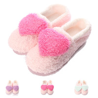 Wholesale Heart Shape Slippers - Wholesale- Women Confinement Slipper Lovely Big Heart-Shaped Slippers Warm Soft Sole Womens Short Plush Home Indoor Floor Covered Heel Shoe