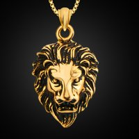 Wholesale Man S Necklace - Europe and the United States fashion jewelry 18K gold back ancient domineering lion pendant necklace men 's jewelry
