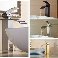 Wholesale Bathroom Waterfall Wall Spout - Wholesale- Waterfall Spout Solid Brass Bathroom Basin Faucet Single Handle Hole Vanity Sink Mixer Tap