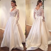 Wholesale long plus size engagement dresses - 2017 Lace Wedding Dress See Through Sexy Bridal Gown Long Sleeves V Neck Engagement Dresses Custom Made Satin A Line With Pocket