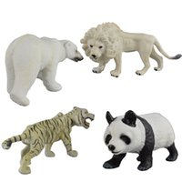 Wholesale Toy Wild Animals Plastic - kida imitation wild animal models toys 4 style Lion Tiger Polar bear Panda solid plastic dolls toys mini animal toys 14-18cm for children's