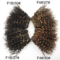 New Arrival Brazilian Kinky Curly Virgin Hair Fashion Bob Hairstyle Short Double Drawn F1b / 27 # / 30 # F4 # / 27 # / 30 # Human Hair Weave 6Pcs