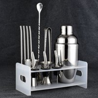 Wholesale Bar Shaker Sets - Bar Set: Premium Shaker Barware Set - 12 Pieces Bartender Kit Includes shaker (550ml), rack, spoon, pourer, straw & ice tong.Free Shipping
