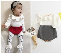 Wholesale Long Sleeve Bodysuit 12 Months - 2017 INS baby clothes spring autumn hand made woolen clothing boutique knitted rompers kids crochet cotton onesies peter pan collar bodysuit