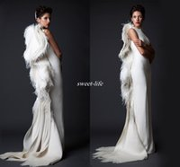 Wholesale Women White Pageant Gowns - Krikor Jabotian Ivory Feather Women Formal Evening Dresses Sheath Ruffles Satin 2017 Arabic Pageant Gowns Long Prom Occasion Dress Vintage