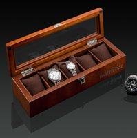 Wholesale Wood Show Case - Antique Type SOKI Solid Walnut Wood Watch Box Black Color for 5 Watches Display Case with Glass Top Show Case B014Z