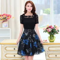 Wholesale korean lace dress xl - 2017 Summer New Korean Fashion Slim Women's Dresses Lace Hollow Out Patchwork Printed Short Sleeve A-Line Dress Women's Clothing