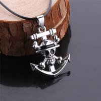 Wholesale One Piece Pendant - One Piece Anime Anchor Necklace, Floating Charm Rudder Skulls' Pendant Necklaces, Long Neckless Women Men Jewelry