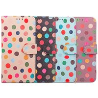 Wholesale Iphone Wallet Dot - Leather Case For Samsung S8 Plus iPhone 7 Plus 7Plus 6 6s Plus Soft TPU+PU Wallet Cases With Hand Strap Round Dots Printing