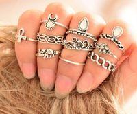 Wholesale elephant mix for sale - Group buy Retro Bohemia folk style joint ring trendsetter ten set elephant gem hand jewelry