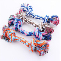 Wholesale Dog Rope Cotton - Pets dogs pet supplies Pet Dog Puppy Cotton Chew Knot Toy Durable Braided Bone Rope 17CM Funny Tool