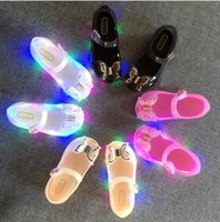 Wholesale Bow Lamp - Melissa jelly shoes baby girls LED lamp sandal Infant kids BOWS flat princess shoes fashion Newborn girls buckles single shoes T3869