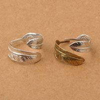 Wholesale Nice Wedding Rings For Men - 925 sterling silver jewelry nice feather open simple band ring for men two tone adjustable Japan designer ring