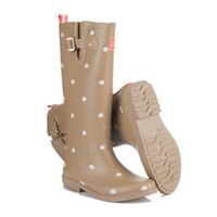 Brand New Polka Dot Botas de chuva de borracha Mulheres Moda Buckle Flats Rainboots Waterproof Water Shoes Wellies Boots TS11