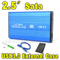 "Wholesale Hard Cases For Laptop Computers - Wholesale- High Speed Portable USB 3.0 to SATA 2.5"" HDD External Enclosure USB3.0 Hard Disk Drive Case Box for PC Computer Laptop Notebook"