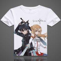 Wholesale Black Art Tee Shirts - 52 Styles Anime Sword Art Online Kirigaya Kazuto T-shirts Yuuki Asuna Printed T Shirt Short Sleeve Tees SAO Summer Tops Dropship