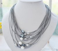 Wholesale rice plants - New 11-13mm White Black Rice Pearl Gray Leather Necklace