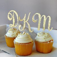 Wholesale Letter Gold Cake Topper - Wholesale-Personalized Gold Glitter Letter Party Cupcake cake topper picks for kids birthday party Baby Shower Decoration wedding Supplies