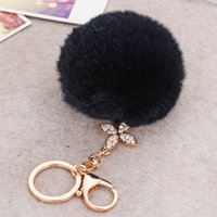 Wholesale Wholesale Cloves - Rabbit Fur Ball Fluffy Round Ball with Bling Bling Four-leaf Clove Metal Keychain Keyring Car Keychains Purse Charms Handbag Pendant