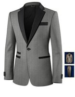 Wholesale Top Selling Mens Jackets - Wholesale- Top Selling New tailored light grey custom made grooms mens 3 pieces suits man's suits Ball gown ( jacket + Pants + bowtie )