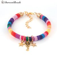 "Wholesale Gold Tone Key Charm - Wholesale-DoreenBeads Boho Chic Bracelets Cotton Cord golden tone Antique Gold Multicolor Heart Pentagram Star Key 18cm(7 1 8"") long, 1 PC"