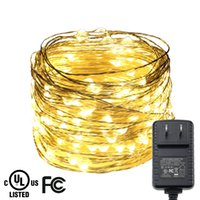 ingrosso luci di natale dell'adattatore di ca-All'ingrosso- 20M / 65FT 200LEDs Silver Wire Multicolor LED String Lights Luci natalizie Starry Lights Candle Candle Lights + UL CE Adapter