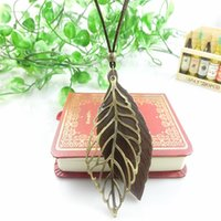 Wholesale Statement Necklace Vintage Leaves - Vintage Ethnic Style Jewelry Statement Necklace Pendant Hollow Double Layer Leaves Leather Rope Necklace Jewelry Accessories
