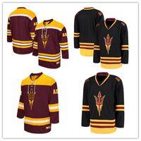 Wholesale Sun Dry - Mens Black NCAA Arizona State Sun Devils College Hockey Jerseys Maroon Embroidery ASU Hockey Team Jersey S-3XL