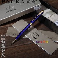 Wholesale Office Novelty Gifts - Free Shipping Parker Ballpoint Pen Hot Selling School Office Suppliers Creative Blue Gold Signature Ballpoint Pens Novelty Stationery Gift