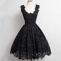 Wholesale Inexpensive Vintage Lighting - 2017 Cheap High Quality Black Lace Cocktail Dress Short Dresses Scoop Neck Sleeveless Custom Made Guest Dress Formal Party Gowns Inexpensive