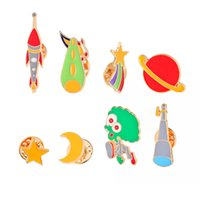 Wholesale Telescope Cartoon - Trendy Fashion Cartoon Suit Brooch Star Moon Saucerman Telescope Brooch Button Pin Cosmic Series Brooch Denim Jacket Pin Badge