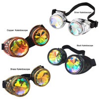 Wholesale Boy Girl Party - Wholesale Retail Steampunk Goggles Victorian Copper Black Eyewear 4 colors Kaleidoscope Goggles Welding Party Cosplay Mirror Vintage Glasses