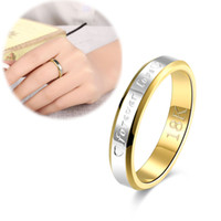 Forever Love Letter Ring Anel de aço feminino Bicolor Love Ring romântico Atacado 18K Gold Plated Jewelry Silver Ring Band moda na moda