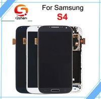 Wholesale Galaxy S4 Blue - For Samsung Galaxy S4 i9500 9505 I545 I337 LCD Screen Digitizer Touch Diaplay White and blue + Without Frame with Fast DHL ship