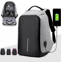 Wholesale Usb Bags - USB Charging Backpack Anti-theft Hidden Zipper Laptop Backpacks Business Travel Bag Waterproof School Bags 3 Colors OOA2780
