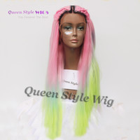 Perruques De Couleurs Vives Pas Cher-Mermaid Colorful Rainbow Hair Wig Synthetic Pastel Rainbow Couleur Rose / Bright Blue / Fluorescent Green Ombre Cheveux devant à la dentelle