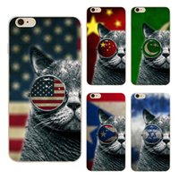 Wholesale Iphone 4s Back Cover Flag - Cute Flag Glasses Cat Clear Soft Silicone TPU Cell Phone Case for iphone X 8 7 6S Plus 5S 5C 4S Back Cover