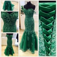 Wholesale Sexy Corset Chiffon Dresses Women - Real Photos 2017 Emerald Green Mermaid Prom Dresses Off Shoudler Lace Appliques Corset Back Plus Size Women Formal Evening Occasion Gowns