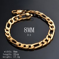 Wholesale 18k Gold Figaro - Special Offers 18K Yellow Gold 3:1 8MM Personality Man Cool Figaro Bracelet Chain for Men Long lasting Color Preserving Allergy